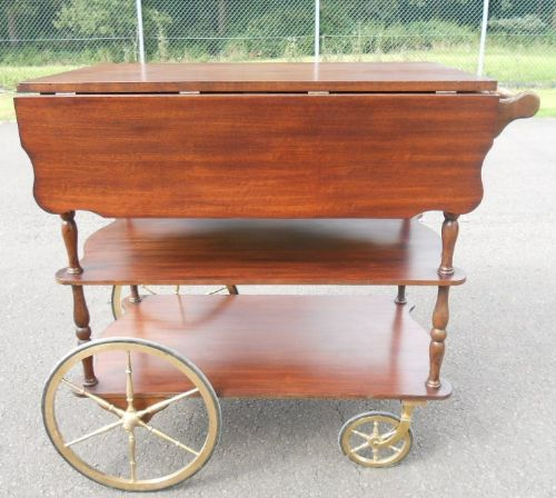 Mahogany Three Tier Dropleaf Tea Trolley